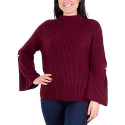 NY Collection Womens Bell Sleeve Mock Neck Sweater