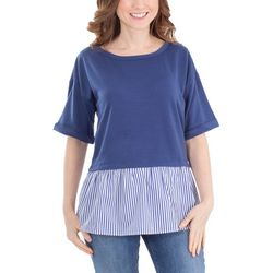 NY Collection Womens Elbow Sleeve Layered Top