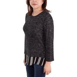 NY Collection Womens Bacl Slit Layered Top