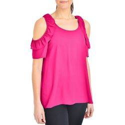 NY Collection Womens Ruffle Cold Shoulder Top