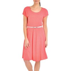 NY Collection Womens Polka Dot A-Line Dress