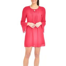 NY Collection Womens Solid Bell Sleeve Dress