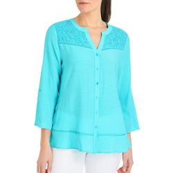 NY Collection Womens Solid Roll Tab Sleeve Top