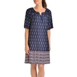 NY Collection Womens Elbow Sleeve Trapeze Dress