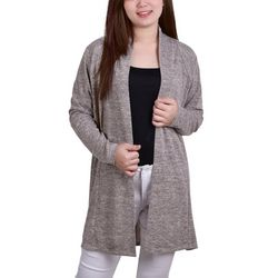 NY Collection Womens Marled Pleat Back Cardigan