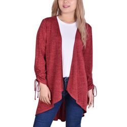 NY Collection Womens Ruched Sleeve Cardigan