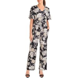 NY Collection Womens Floral Tie Fron Jumpsuit