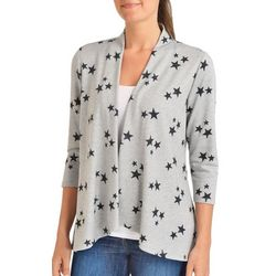 NY Collection Womens 3/4 Sleeve Star Cardigan