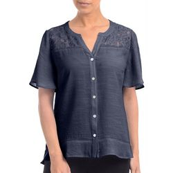 NY Collection Womens Lace Yoke Blouse