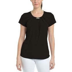NY Collection Womens Front Pleated Metal Trip Top