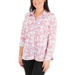 NY Collection Womens Allover Print Top