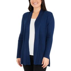 NY Collection Womens Open Front Textured Cardigan