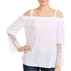 NY Collection Womens Off-The-Shoulder Top
