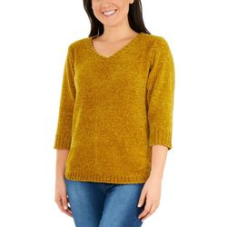 NY Collection Womens V Neck Solid Sweater