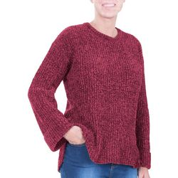 NY Collection Womens Cuffed Hi-Low Chenille Pullover