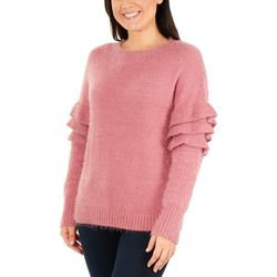 NY Collection Womens Puffle Sleeve Crew Pullover