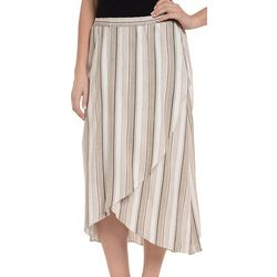 NY Collection Womens High Low Wrap Front Skirt