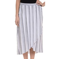 NY Collection Womens Stripe High Low Wrap Skirt