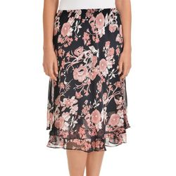 NY Collection Womens Floral Chiffon A-Line Skirt
