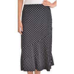NY Collection Womens Polka Dot Midi A-Line Skirt
