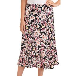 NY Collection Womens Floral Midi A-Line Skirt