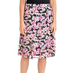 NY Collection Womens Floral Godet Midi Skirt