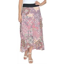 NY Collection Womens Printed High Low Skirt