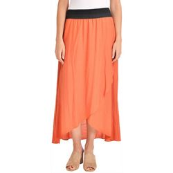NY Collection Womens Crochet Waist High Low Skirt