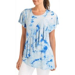 NY Collection Womens Ruffle Tie-Dye Print T-Shirt