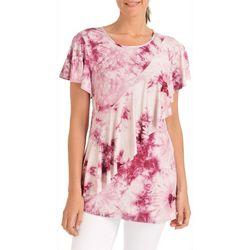 NY Collection Womens Ruffle Tie-Dye Print T-Shirt