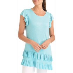 NY Collection Womens Asymmetrical Ruffle T-Shirt