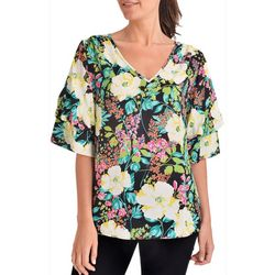 NY Collection Womens Floral Double Puff Sleeve Top