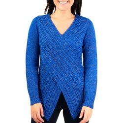 NY Collection Womens Crossover V Neck Sweater