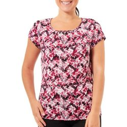NY Collection Womens Printed Jewel Trip Cap Sleeve Top