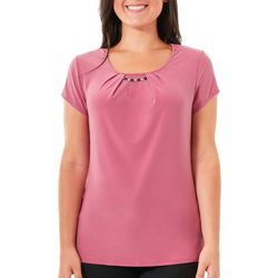 NY Collection Womens Jewel Trim Cap Sleeve Top