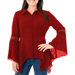 NY Collection Womens Angled Bell Sleeve Peplum Top