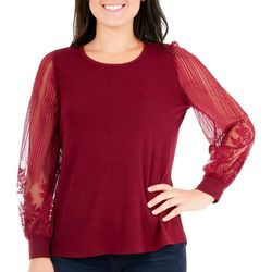 NY Collection Womens Blouse Lace Sleeve Top