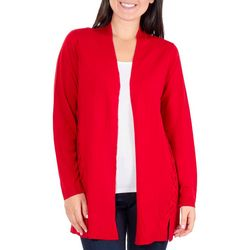NY Collection Womens Lace-Up Open Front Cardigan