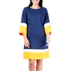 NY Collection Womens Color Block A-Line Dress