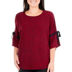 NY Collection Womens Marled Split Bell Sleeve Sweater