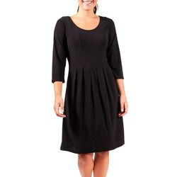 NY Collection Womens Solid Pleated Flared Dress