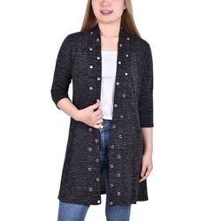 NY Collection Womens 3/4 Sleeve Grommet Front Cardigan