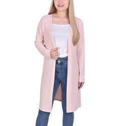 NY Collection Womens Long Sleeve Solid Cardigan