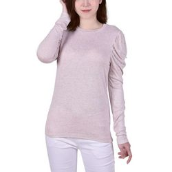 NY Collection Womens Pearl Trimmed Balloon Sleeve Pullover