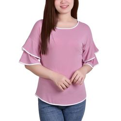 NY Collection Womens Double Bell Sleeve Blouse