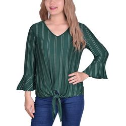 NY Collection Womens Bell Sleeve Tie Front Top
