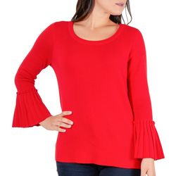 NY Collection Womens Pleated Bell Sleeve Sweater