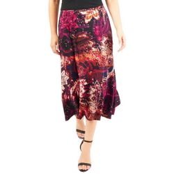 NY Collection Womens Floral Diagonal A-line Skirt