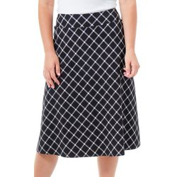 NY Collection Womens Plaid Half Circle Skirt