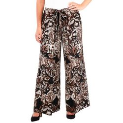 NY Collection Womens Floral Skirt-Front Wide Leg
